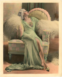 """Jean Harlow in Dinner at Eight by Harvey White (MGM,1933). Hand Tinted Portrait Photo (8"""" X 10"""")"""