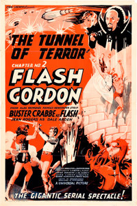 "Flash Gordon (Universal, 1936). One Sheet (27"" X 41"") Chapter 2 --""Tunnel of Terror."""