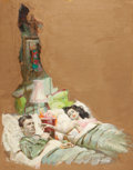 Pulp, Pulp-like, Digests, and Paperback Art, STANLEY M. ZUCKERBERG (American, 1919-1995). Couple in Bed,paperback cover. Oil on board. 28 x 19 in.. Signed lower rig...
