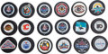 Hockey Collectibles:Others, NHL Hockey Pucks Lot of 18....