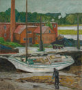 Fine Art - Painting, American:Modern  (1900 1949)  , PROPERTY OF AN EAST COAST INSTITUTION. CHILDE HASSAM (American,1859-1935). Oyster Sloop, Cos Cob, 1902. Oil on canvas...
