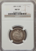 Seated Quarters: , 1891-S 25C AU53 NGC. NGC Census: (2/148). PCGS Population (1/157).Mintage: 2,216,000. Numismedia Wsl. Price for problem fr...