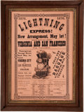 Western Expansion:Goldrush, [Nevada Silver Mining] 1876 Lightning Express Railroad Broadside,Virginia City, Nevada - San Francisco, California Virginia &...