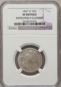 Seated Quarters: , 1857-O 25C --Improperly Cleaned-- NGC Details. XF. NGC Census:(1/53). PCGS Population (8/58). Mintage: 1,180,000. Numismedi...