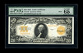 Large Size:Gold Certificates, Fr. 1187 $20 1922 Mule Gold Certificate PMG Gem Uncirculated 65EPQ. Other $20 Golds from this same serial number are known ...