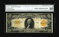 Large Size:Gold Certificates, Fr. 1187 $20 1922 Gold Certificate CGA About Uncirculated 50. A pair of center folds is noticed on this brightly hued orange...