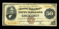 Large Size:Gold Certificates, Fr. 1190 $50 1882 Gold Certificate Fine. Only five Fr. 1190s areknown to exist, one of which is permanently impounded in th...