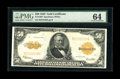 Large Size:Gold Certificates, Fr. 1200 $50 1922 Mule Gold Certificate PMG Choice Uncirculated 64.This note last appeared at public auction seven years ag...