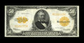 Large Size:Gold Certificates, Fr. 1200 $50 1922 Gold Certificate Very Fine-Extremely Fine. A couple of hard folds bisect the surface of this bright orange...