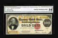 Large Size:Gold Certificates, Fr. 1215 $100 1922 Gold Certificate CGA Choice Uncirculated 64. Bold inks on white paper highlight this $100 Gold that posse...