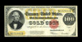 Large Size:Gold Certificates, Fr. 1215 $100 1922 Gold Certificate Very Fine. Bright colors arethe mainstay of this high denomination gold. The bottom edg...