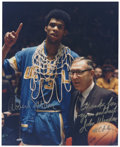 Basketball Collectibles:Others, Kareem Abdul-Jabbar and John Wooden Dual-Signed Photograph. Bothlegendary in their own right, Kareem Abdul-Jabbar (then Le...