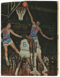 Basketball Collectibles:Others, Wilt Chamberlain Signed Magazine Page. A young Wilt Chamberlainappears on this magazine page removed from a vintage editio...