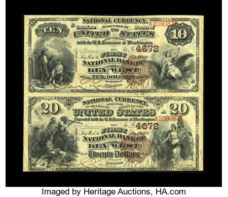 Key West, FL - $10-$20 1882 Brown Back Fr. 485/499 The First NB Ch. # 4672 Uncut Pair This Key West $10 and $20 serial ...