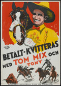 "Movie Posters:Western, Tom Mix Stock (Universal, 1933). Swedish One Sheet (27.5"" X 39.5""). Western.. ..."
