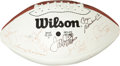 Football Collectibles:Balls, 1990's Super Bowl Most Valuable Players Multi Signed Football....