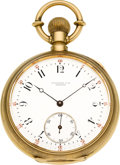 Timepieces:Pocket (pre 1900) , Tiffany & Co. Geneva Early Gold Pocket Watch With Wilmot's Patent Regulator, circa 1875. ...