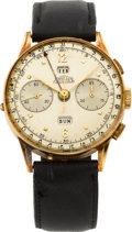 Timepieces:Wristwatch, Angelus 18k Gold Chronodato, circa 1950's. ...