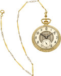 Timepieces:Pocket (post 1900), Dudley Model No. 1 Masonic Pocket Watch With Gold Chain, circa1920's. ...