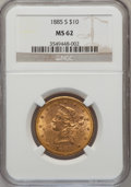 Liberty Eagles: , 1885-S $10 MS62 NGC. NGC Census: (243/73). PCGS Population(243/78). Mintage: 228,000. Numismedia Wsl. Price for problem fr...