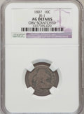 Early Dimes: , 1807 10C --Obverse Scratched-- NGC Details. AG. JR-1. NGC Census:(0/208). PCGS Population (14/305). Mintage: 165,000. Numi...