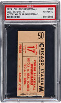 Basketball Collectibles:Others, 1974 UCLA Victory No. 88 of 88 Game Streak Ticket Stub, PSA Authentic. ...