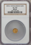 California Fractional Gold: , 1872/1 25C Indian Octagonal 25 Cents, BG-790, R.3, MS63 NGC. NGCCensus: (3/0). PCGS Population (46/77). (#10617)...