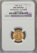 Liberty Quarter Eagles: , 1900 $2 1/2 --Improperly Cleaned-- NGC Details. Unc. NGC Census: (19/1711). PCGS Population (23/1480). Mintage: 67,000. Numi...