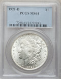 Morgan Dollars: , 1921-D $1 MS64 PCGS. PCGS Population (4477/1604). NGC Census:(5183/2097). Mintage: 20,345,000. Numismedia Wsl. Price for p...