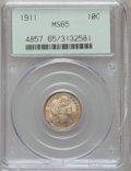 Barber Dimes: , 1911 10C MS65 PCGS. PCGS Population (124/82). NGC Census: (122/56).Mintage: 18,870,544. Numismedia Wsl. Price for problem ...
