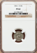 Proof Seated Half Dimes: , 1865 H10C PR62 NGC. NGC Census: (12/109). PCGS Population (25/129).Mintage: 500. Numismedia Wsl. Price for problem free NG...