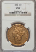 Liberty Double Eagles: , 1880 $20 XF40 NGC. NGC Census: (7/324). PCGS Population (33/354).Mintage: 51,456. Numismedia Wsl. Price for problem free N...