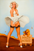 Pin-up and Glamour Art, BARON GERALD (JERRY) VON LIND (American, b. 1937). Katrina,October 10, 2003. Oil on canvas. 36 x 24 in.. Signed lower l...