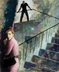 Pulp, Pulp-like, Digests, and Paperback Art, CHARLES ROBERT PATTERSON (American, 1878-1958). Down theStaircase, story illustration, circa 1955. Watercolor andgouac...