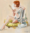 Pin-up and Glamour Art, REN WICKS (American, 1911-1998). Pin-Up Looking into aMirror, circa 1950s. Gouache and tempera on board. 10.75 x 9.75i...
