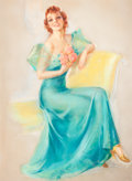 Pin-up and Glamour Art, JULES ERBIT (American, 1889-1968). Woman in a TurquoiseDress. Pastel on paper. 37 x 27 in.. Signed lower right. ...