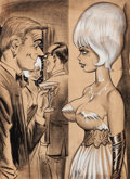 Pin-up and Glamour Art, BILL WARD (American, 1919-1998). Distracted. Charcoal andink on paper. 19 x 13.5 in.. Signed lower center. ...