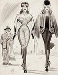 Pin-up and Glamour Art, BILL WARD (American, 1919-1998). Two Women with an Admirer,cartoon illustration. Charcoal pencil, watercolor, and ink o...