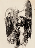 Mainstream Illustration, JOSEPH CLEMENT COLL (American, 1881-1921). TheConfrontation. Pen and ink on paper. 15.25 x 11.25 in.. Signedlower righ...