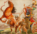 Mainstream Illustration, WILLY POGANY (Hungarian-American, 1882-1955). Battle Scene.Watercolor on board. 12.25 x 13.25 in.. Signed lower left. ...
