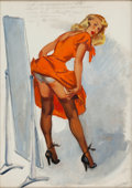 Pin-up and Glamour Art, JOYCE BALLANTYNE (American, 1918-2006). Straightening theSeams. Gouache on board. 19.25 x 13.5 in.. Signed lowerright...