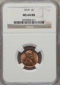 Lincoln Cents: , 1919 1C MS64 Red and Brown NGC. NGC Census: (182/118). PCGSPopulation (140/51). Mintage: 392,020,992. Numismedia Wsl. Pri...