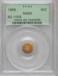California Fractional Gold: , 1865 50C Liberty Round 50 Cents, BG-1005, Low R.5, MS60 PCGS. PCGSPopulation (4/25). NGC Census: (0/5). (#10834)...