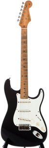 Musical Instruments:Electric Guitars, 1956 Fender Stratocaster Black Solid Body Electric Guitar,#09748....