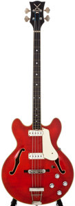 Musical Instruments:Bass Guitars, Mid-1960s Vox Cougar Cherry Semi-Hollow Body Electric Bass Guitar, #263547....