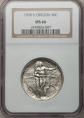 Commemorative Silver: , 1939-S 50C Oregon MS66 NGC. NGC Census: (289/101). PCGS Population(253/88). Mintage: 3,005. Numismedia Wsl. Price for prob...