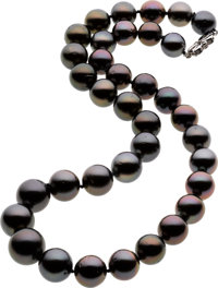 Black South Sea Cultured Pearl, White Gold Necklace