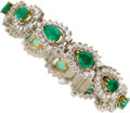Estate Jewelry:Bracelets, Emerald, Diamond, Platinum, Gold Bracelet. ...