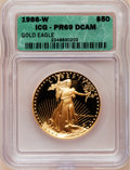 1986-W G$50 One-Ounce Gold Eagle PR69 Deep Cameo ICG. NGC Census: (7981/1012). PCGS Population (11930/238). Mintage: 446...