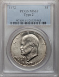 Eisenhower Dollars, 1972 $1 Type Two MS61 PCGS. PCGS Population (20/1200). Numismedia Wsl. Price for problem free NGC/PCGS ...
